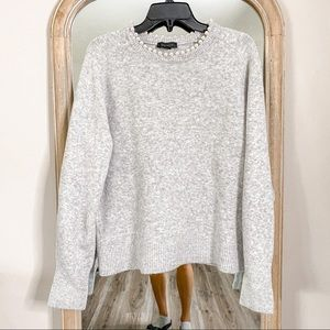 Ann Taylor Wool Blend Gray Sweater Embellished XL